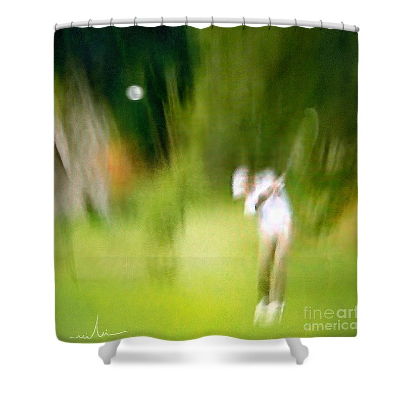 Golf Shower Curtain featuring the painting Golf at The Blue Monster in Doral Florida 01 by Miki De Goodaboom
