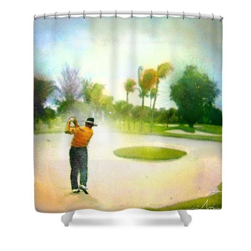 Golf Shower Curtain featuring the painting Golf at The Blue Monster in Doral Florida 02 by Miki De Goodaboom