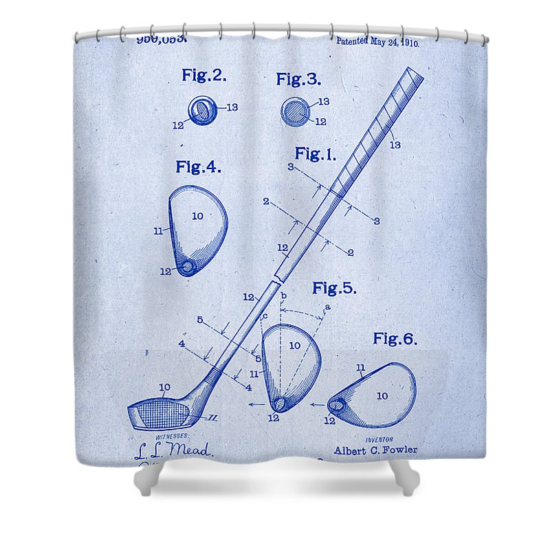 Golf club patent drawing 1910 blueprint inverse shower curtain for patent drawing shower curtain featuring the drawing golf club patent drawing 1910 blueprint inverse by patently malvernweather Image collections
