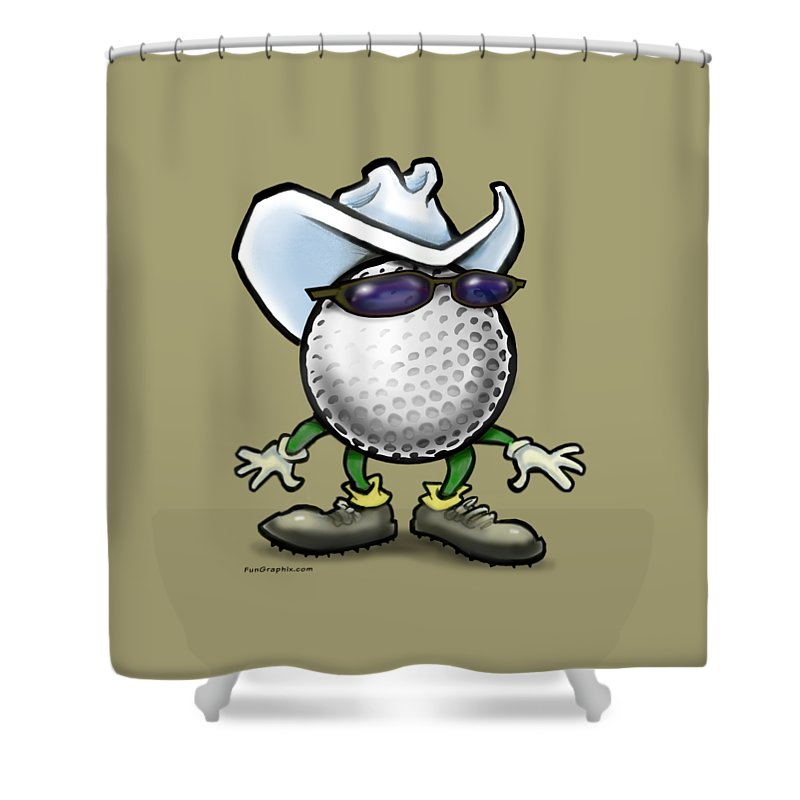 Golf Shower Curtain featuring the digital art Golf Cowboy by Kevin Middleton