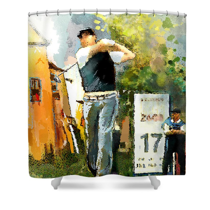 Golf Shower Curtain featuring the painting Golf In Club Fontana Austria 01 Dyptic Part 01 by Miki De Goodaboom
