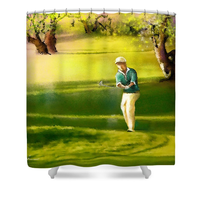 Sports Shower Curtain featuring the painting Golf In Spain Castello Masters 02 by Miki De Goodaboom