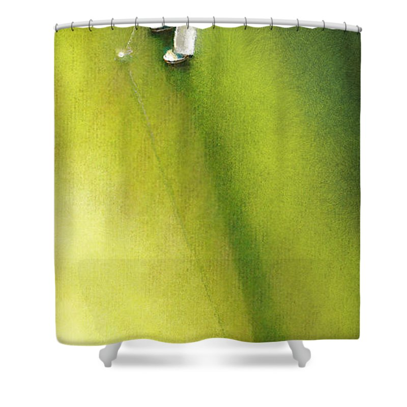 Golf Shower Curtain featuring the painting Golf In Spain Castello Masters 03 by Miki De Goodaboom
