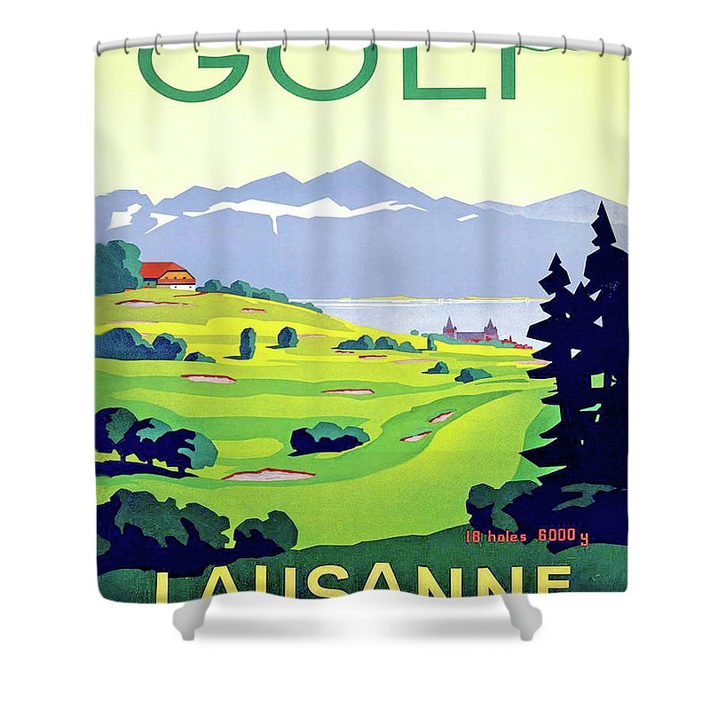 Golf Shower Curtain featuring the digital art Golf, Lausanne, Switzerland, Travel Poster by Long Shot