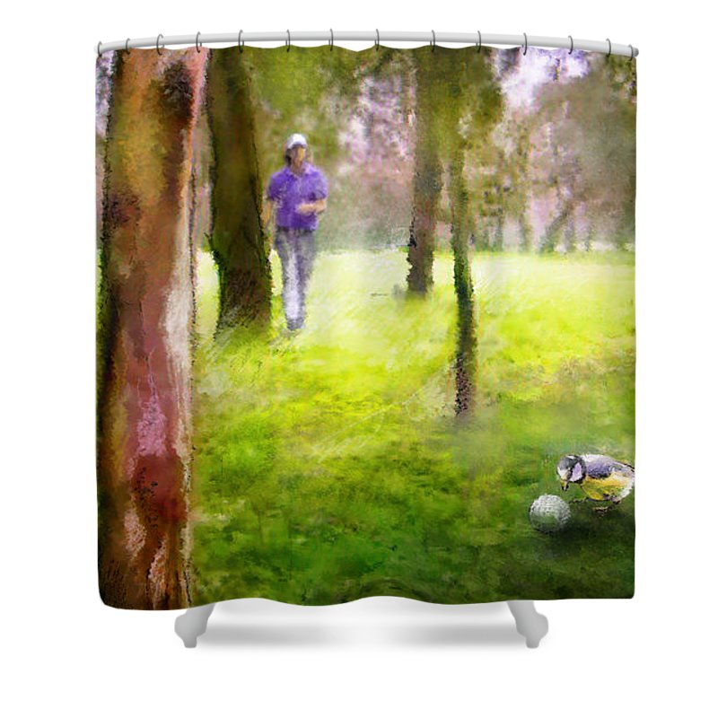 Golf Shower Curtain featuring the painting Golf Trophee Hassan II in Royal Golf Dar Es Salam Morocco 02 by Miki De Goodaboom