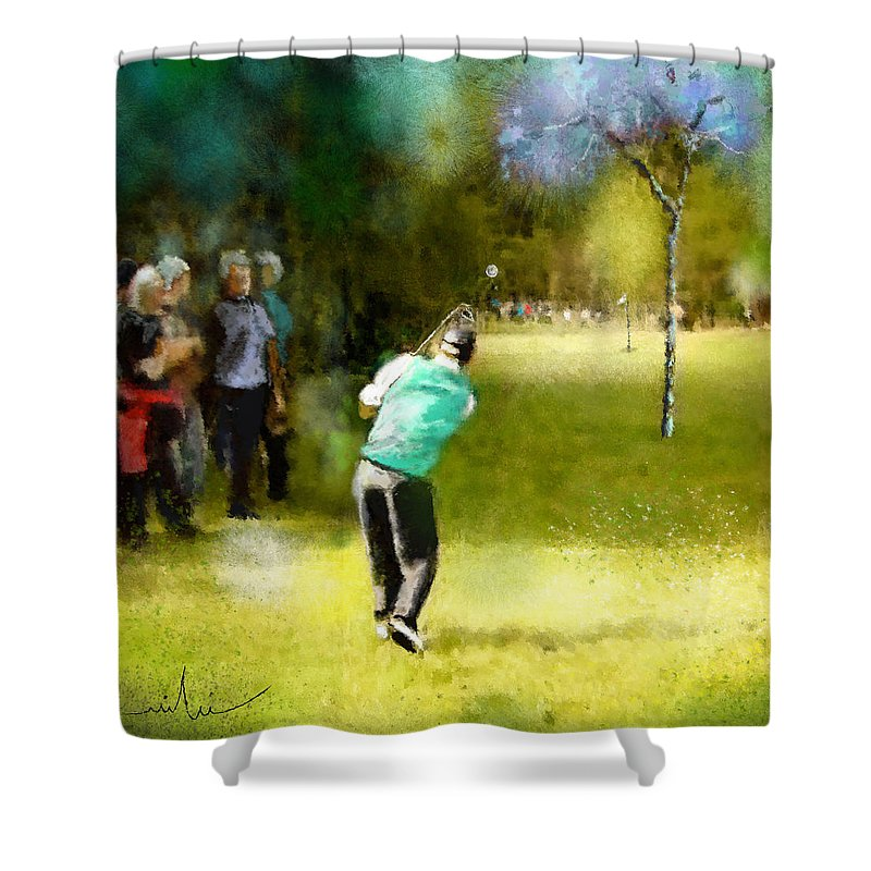 Golf Shower Curtain featuring the painting Golf Vivendi Trophy In France 02 by Miki De Goodaboom