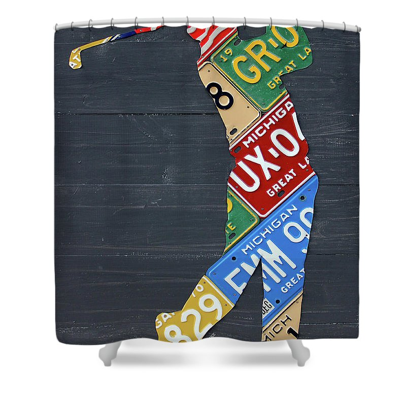 Golfer Shower Curtain Featuring The Mixed Media Silhouette Recycled Vintage Michigan License Plate Art By