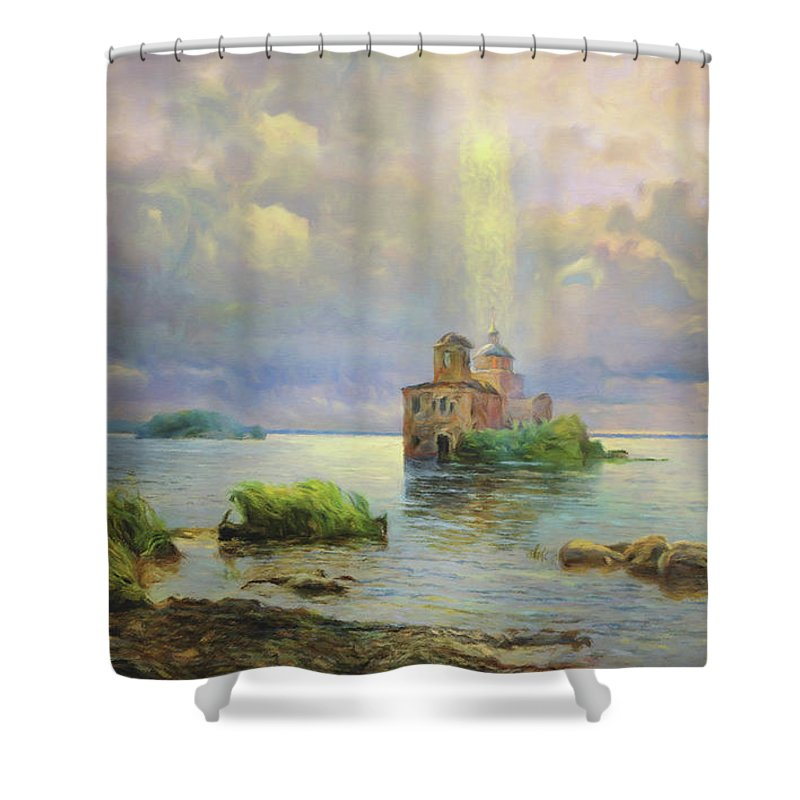 Golgotha Fantasy Shower Curtain featuring the mixed media Golgotha Fantasy Impressionism by Georgiana Romanovna