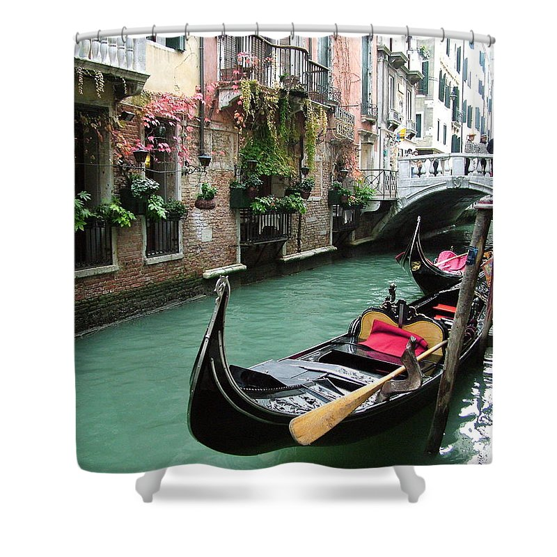 Venice Photos Shower Curtain featuring the photograph Gondola By The Restaurant by Donna Corless