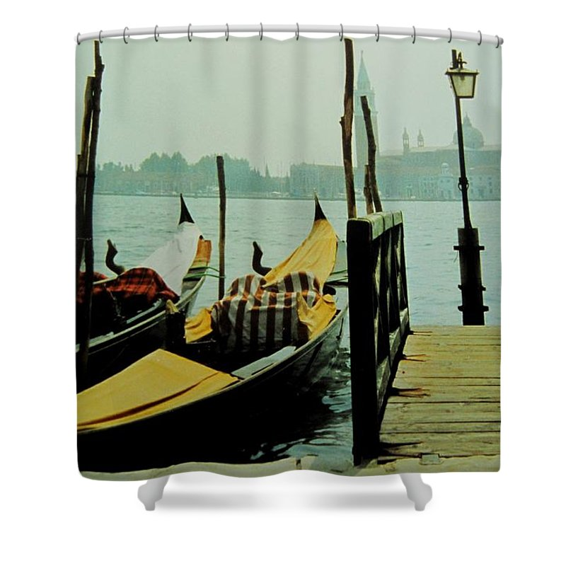 Venice Shower Curtain featuring the photograph Gondolas by Ian MacDonald