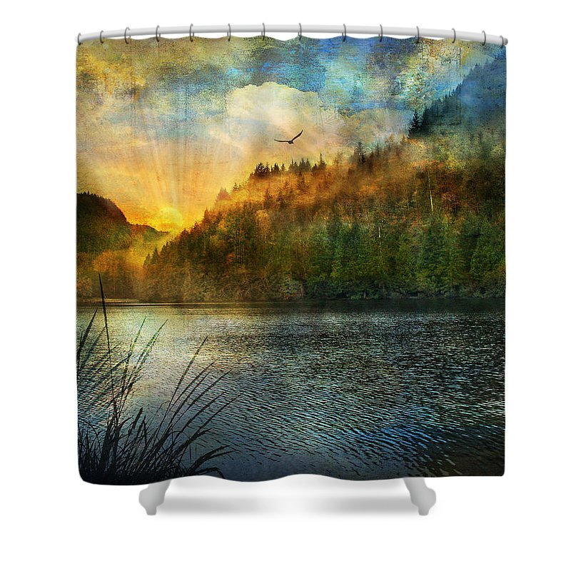 Landscape Shower Curtain featuring the digital art Gone Fishing by Laura Lipke