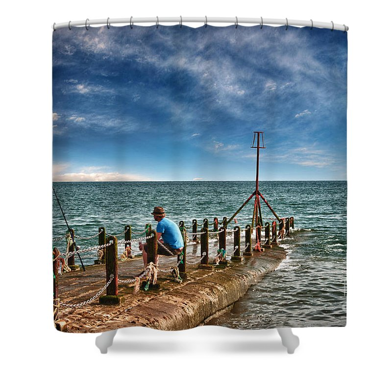 Beach Shower Curtain featuring the digital art Gone Fishing by Paul Stevens