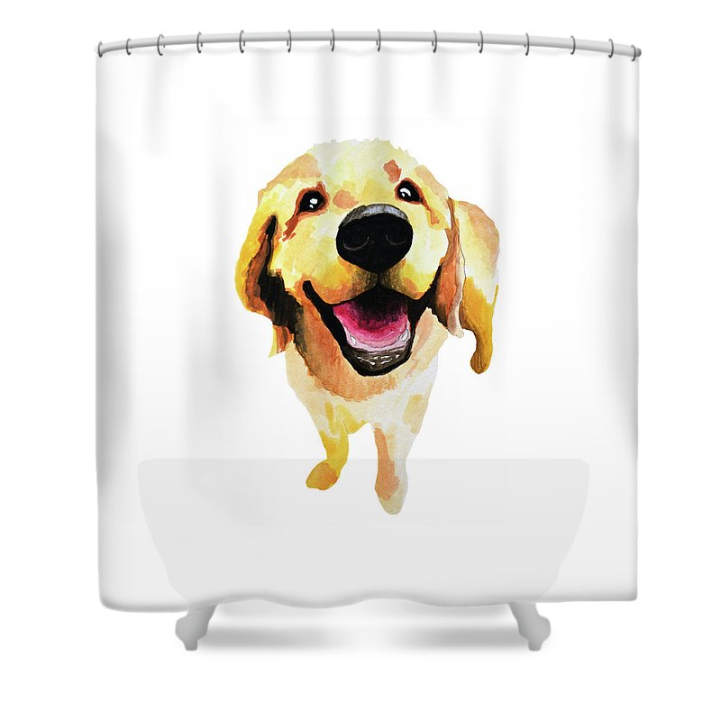 Dog Shower Curtain featuring the painting Good Boy by Amy Giacomelli