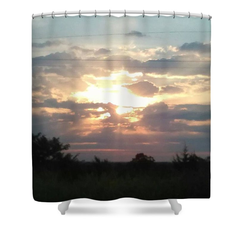 Sunset Shower Curtain featuring the pyrography Good Evening by Kayla Smith