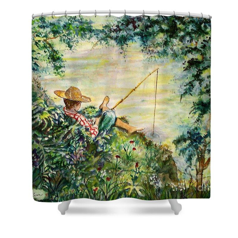 Landscape Shower Curtain featuring the painting Good Fishing by Norma Boeckler