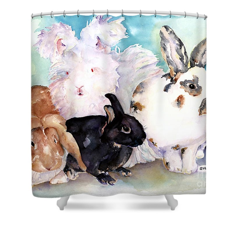 Animal Artwork Shower Curtain featuring the painting Good Hare Day by Pat Saunders-White