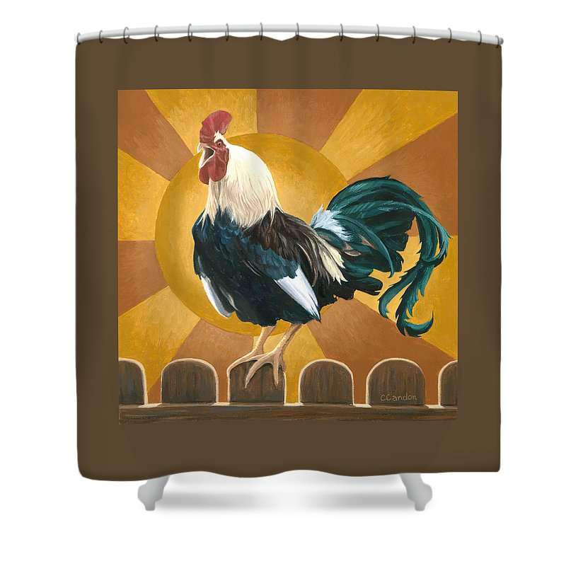 Rooster Shower Curtain featuring the painting Good Morning by Chantal Candon
