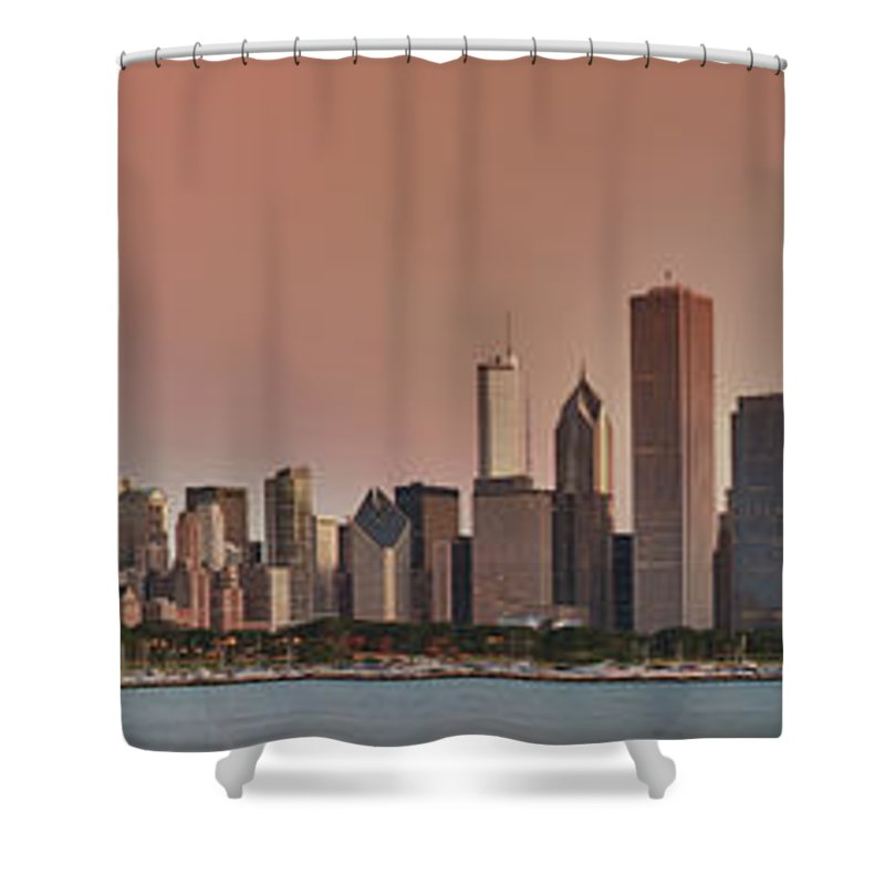 Chicago Shower Curtain featuring the photograph Good Morning Chicago Panorama by Sebastian Musial