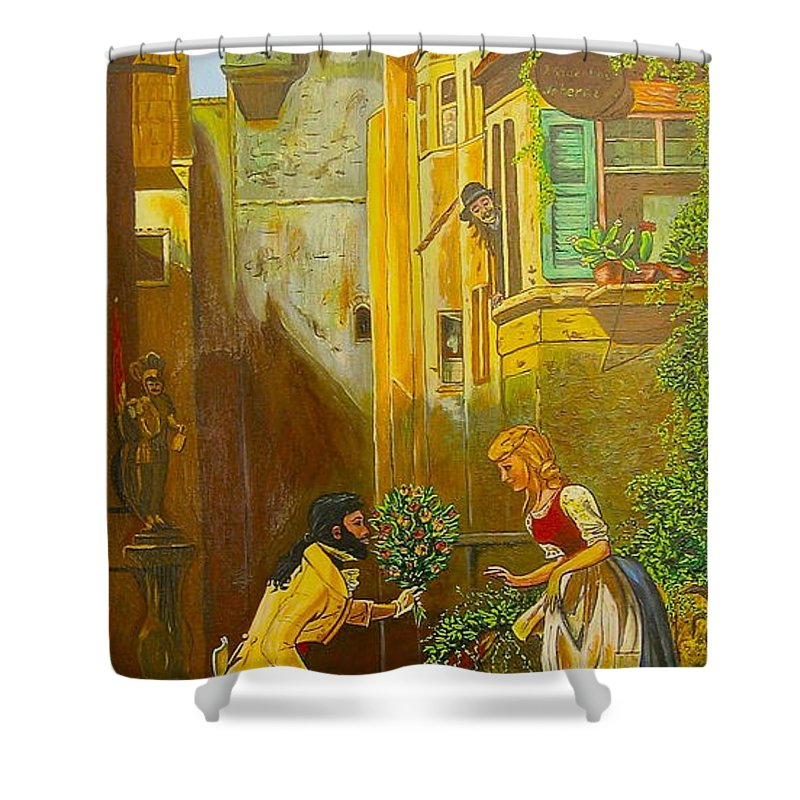 1700's European Village Shower Curtain featuring the painting Good Morning Dear by V Boge