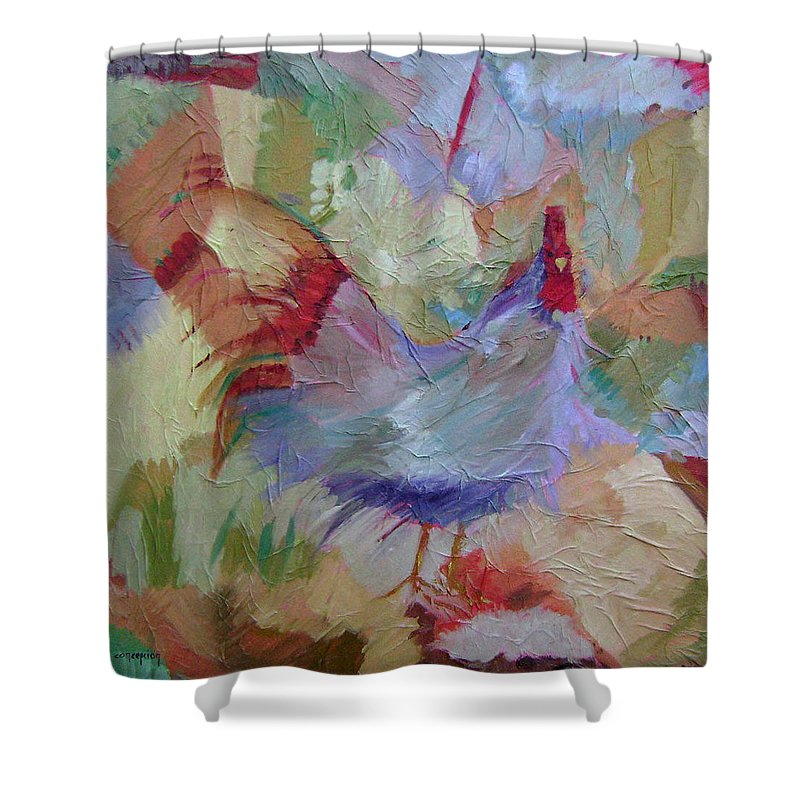 Chicken Paintings Shower Curtain featuring the painting Good Morning by Ginger Concepcion