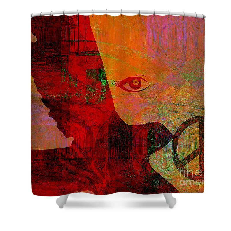Fania Simon Shower Curtain featuring the mixed media Good News Finally by Fania Simon