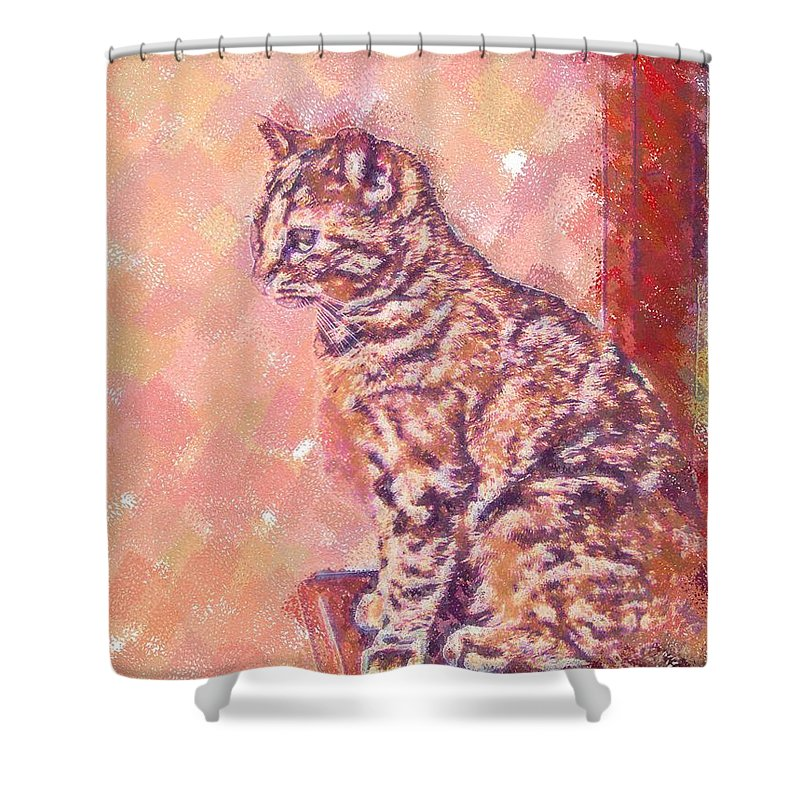 Cat Shower Curtain featuring the digital art Good Tabby by Nora Martinez