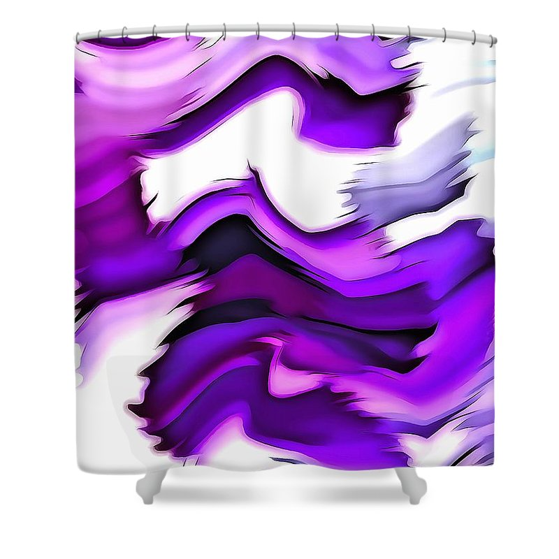 Abstract Art Shower Curtain featuring the digital art Good Vibrations by Krissy Katsimbras