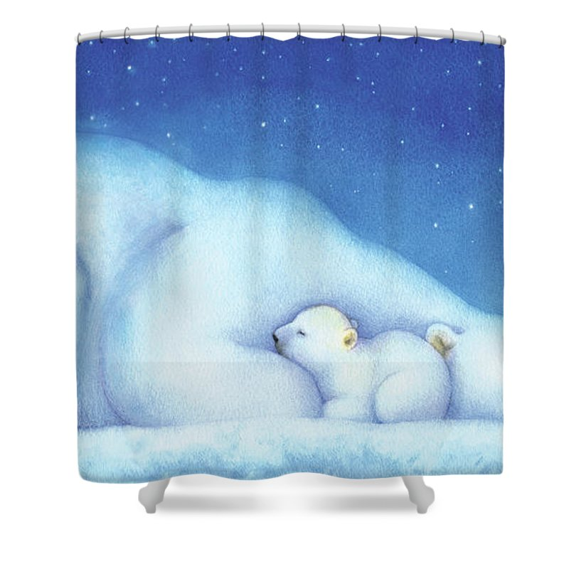 Polar Bears Shower Curtain Featuring The Painting Arctic Goodnight Nanook By Tracy Herrmann