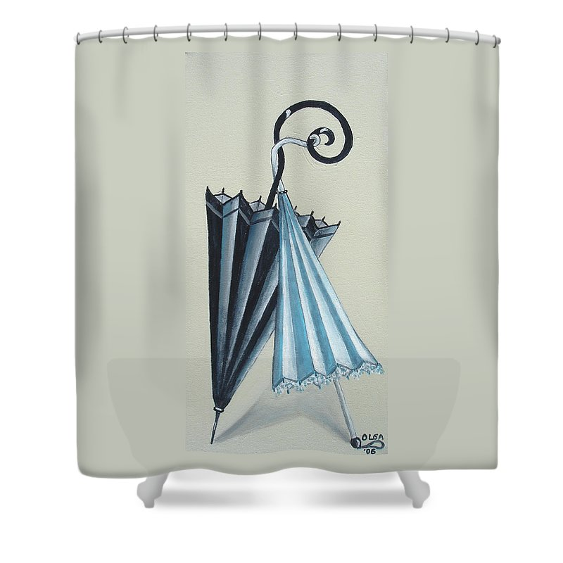 Umbrellas Shower Curtain featuring the painting Goog Morning by Olga Alexeeva