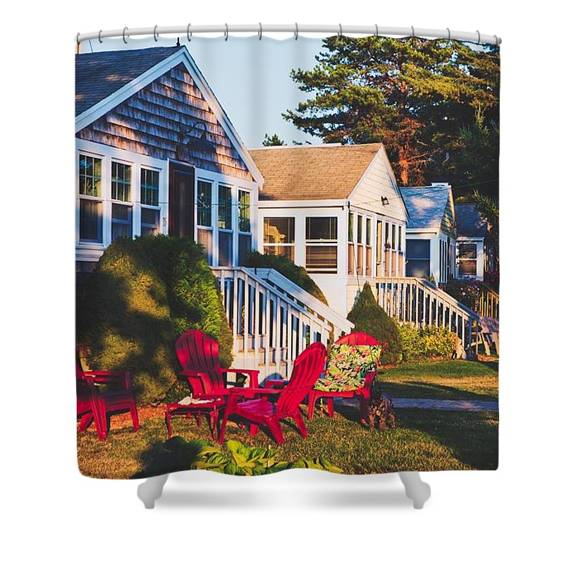 Goose Creek Beach Shower Curtain featuring the photograph Goose Creek Beach Cottages by Library Of Congress