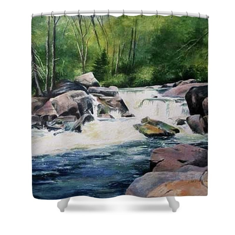 River Shower Curtain featuring the painting Gooseberry River by Marlene Bonneville