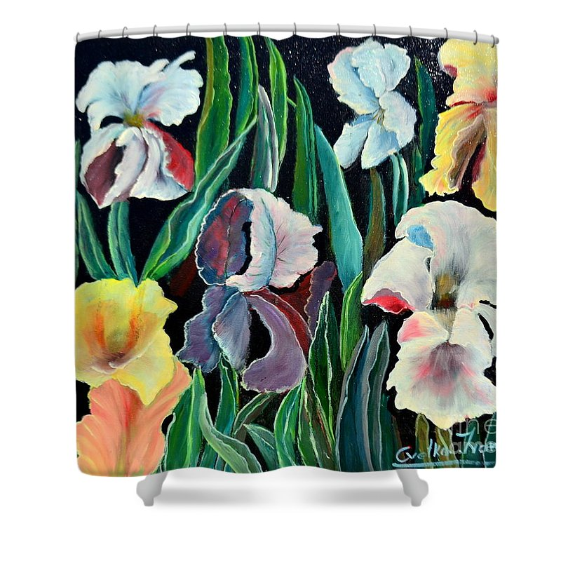 Floers Shower Curtain featuring the painting         Gorgeos Iris by Cvetko Ivanov