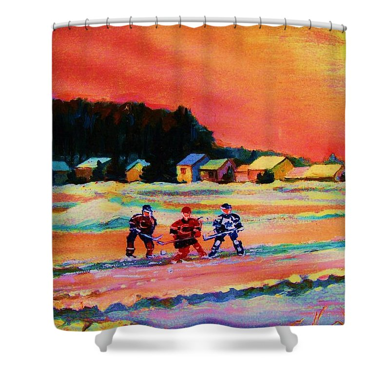 Hockey Landscape Shower Curtain featuring the painting Gorgeous Day For A Game by Carole Spandau