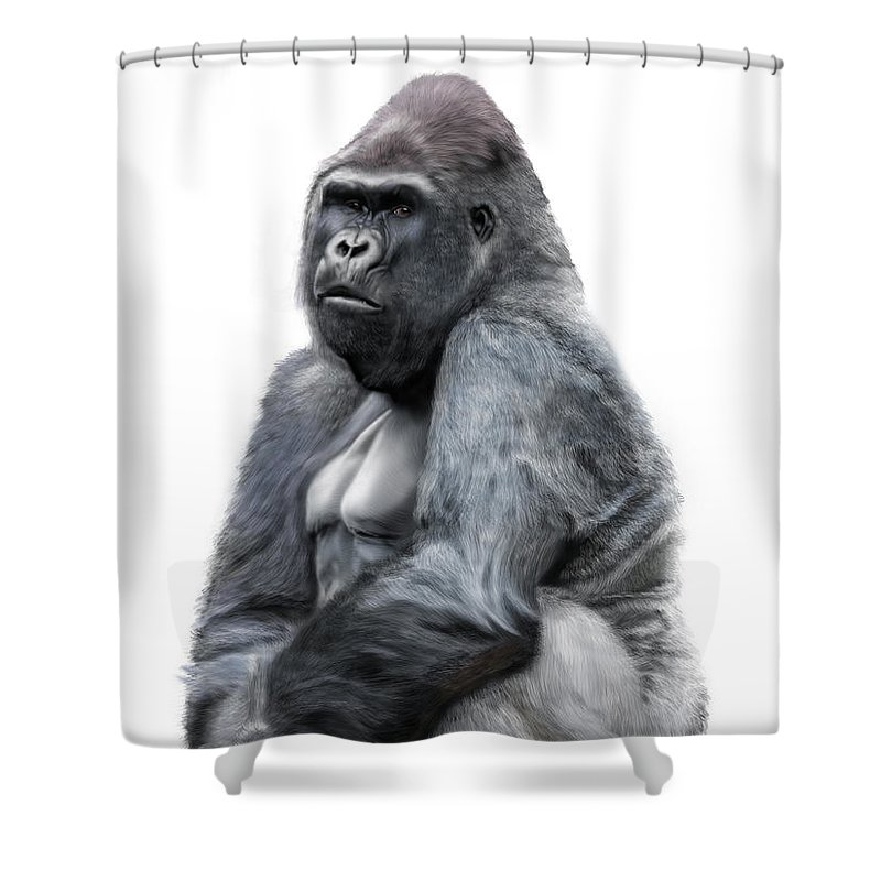 Gorilla Shower Curtain Featuring The Digital Art By Nigel Follett