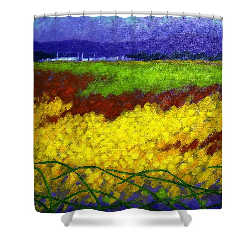 Irish Landscape Shower Curtain featuring the painting Gorse - County Wicklow - Ireland by John Nolan