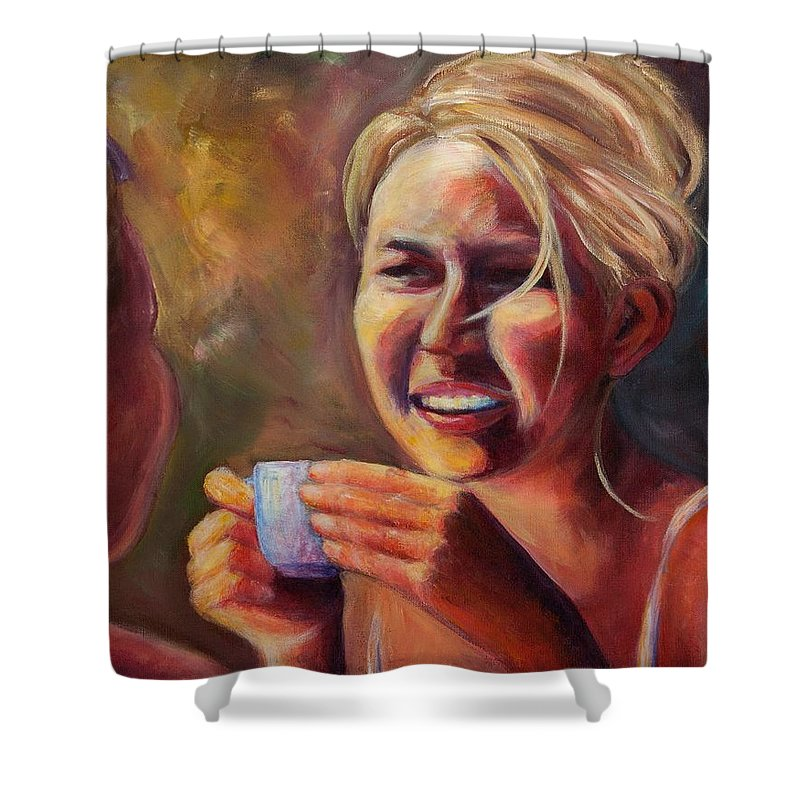 Girl Shower Curtain featuring the painting Gossip by Jason Reinhardt