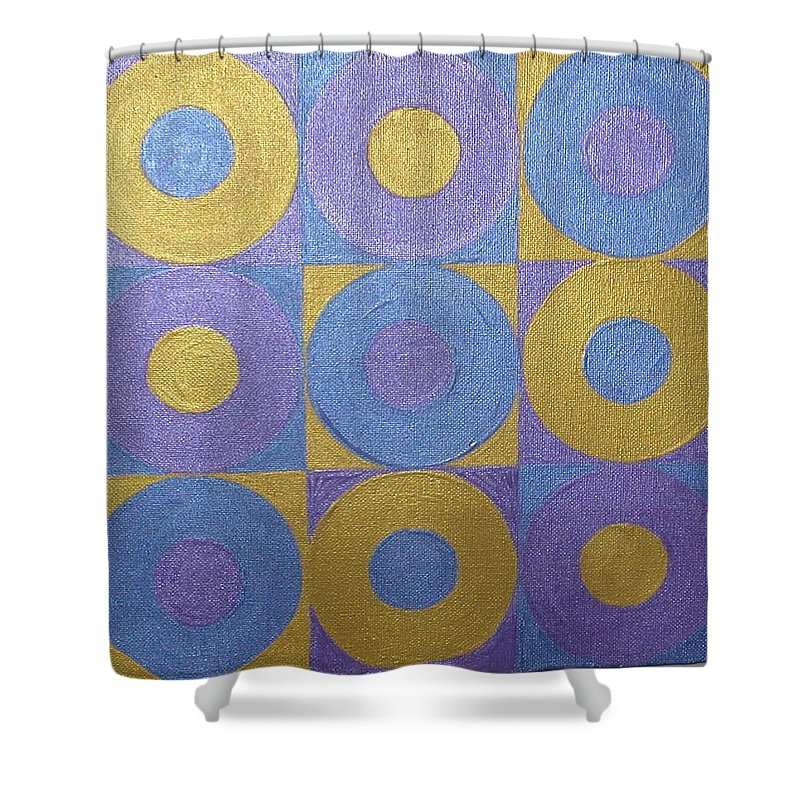 Bkue Shower Curtain featuring the painting Got The Brass Blues by Gay Dallek