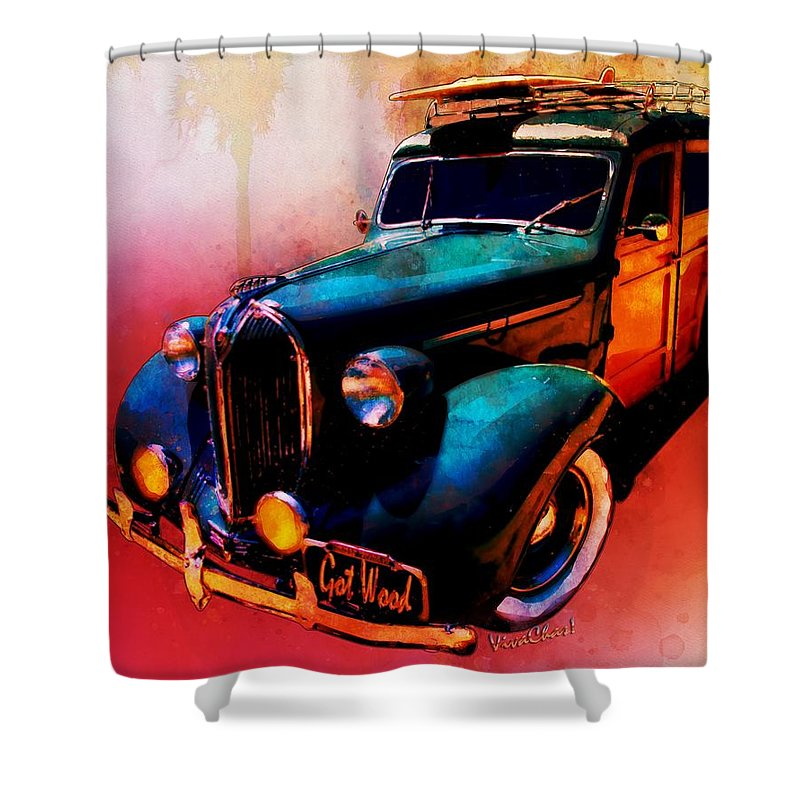 Surf Shower Curtain featuring the digital art Got Wood Surf Woody Wonderland Watercolour by Chas Sinklier