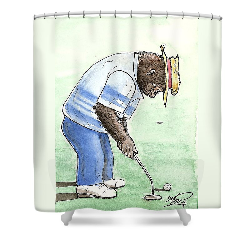 Golf Shower Curtain featuring the painting Got You Now by George I Perez