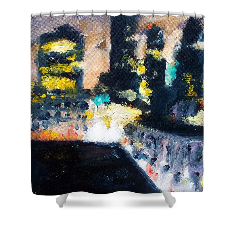 Des Moines Shower Curtain featuring the painting Gotham by Robert Reeves