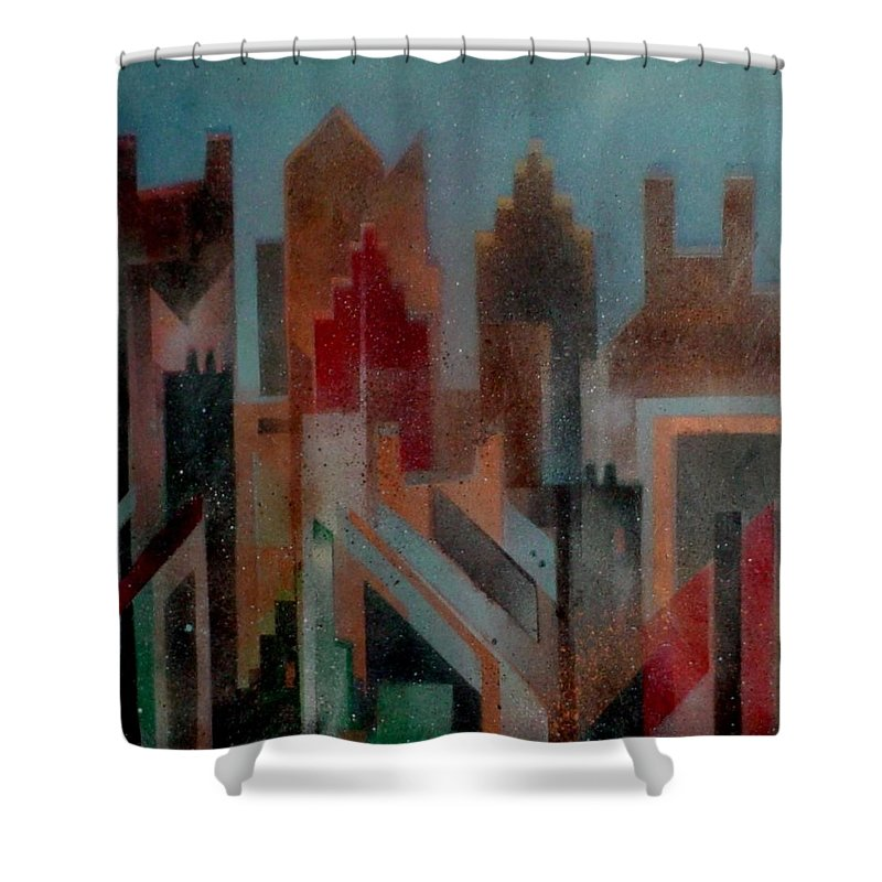 Abstract Shower Curtain featuring the painting Gothem City by Anita Burgermeister