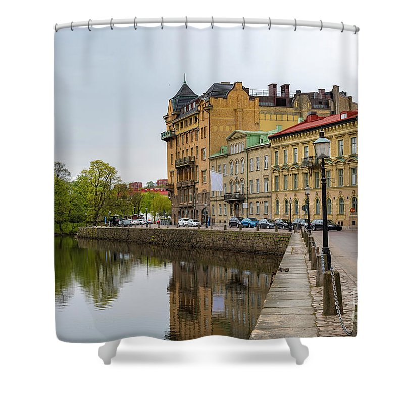 Tram Shower Curtain featuring the photograph Gothenburg Canal And Park by Antony McAulay
