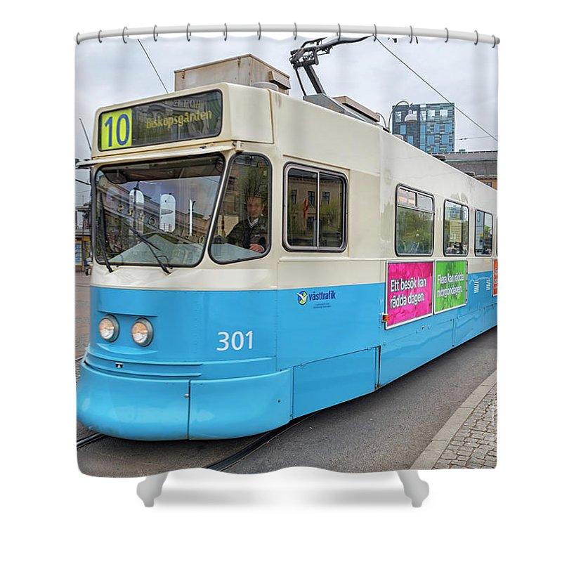 Tram Shower Curtain featuring the photograph Gothenburg City Tram by Antony McAulay