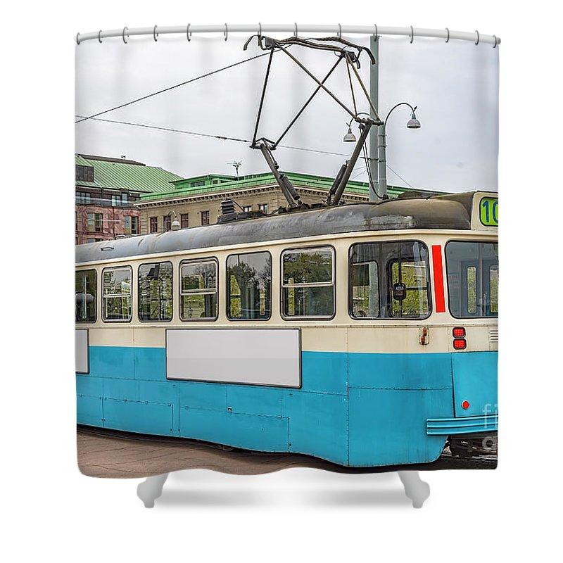Tram Shower Curtain featuring the photograph Gothenburg Tram Car by Antony McAulay