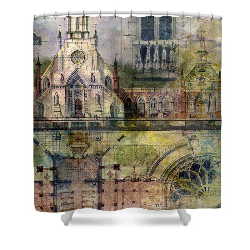 Gothic Shower Curtain featuring the painting Gothic by Andrew King