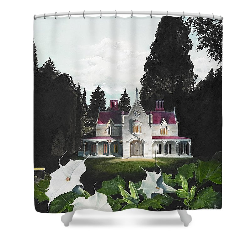 Fantasy Shower Curtain featuring the painting Gothic Country House Detail From Night Bridge by Melissa A Benson