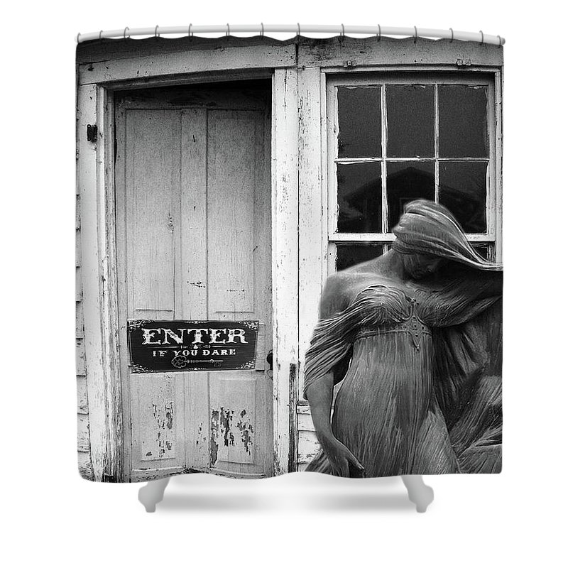 Female Cemetery Mourner At Door Shower Curtain Featuring The Photograph Gothic Figure Halloween Spooky Surreal