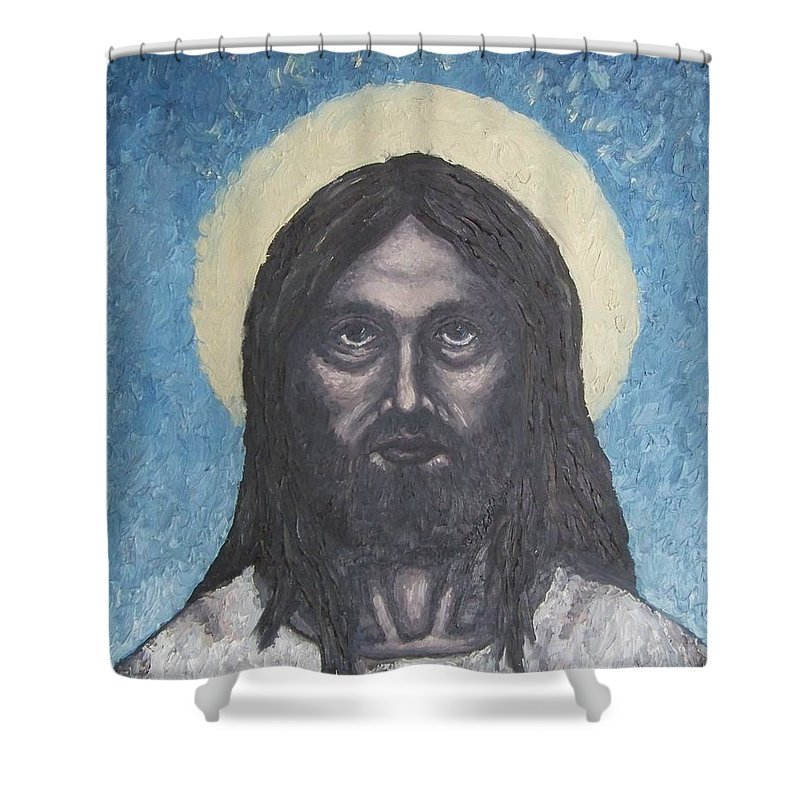 Michael Shower Curtain featuring the painting Gothic Jesus by Michael TMAD Finney