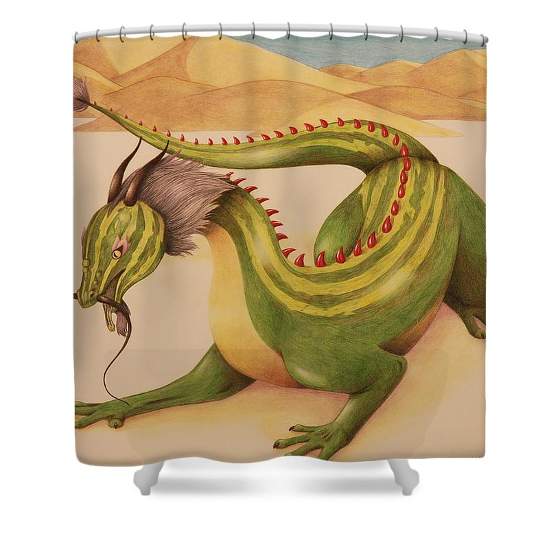Dragon Shower Curtain featuring the drawing Gourd Dragon by Michelle Miron-Rebbe