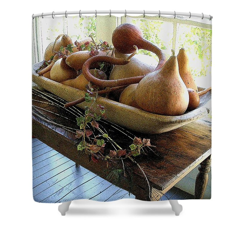 Still Life Shower Curtain featuring the photograph Gourds In Bowl by Nelson Strong